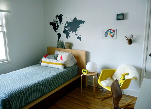 Best Mid Century Modern Boys Bedroom I Love The Map On The 640 x 480
