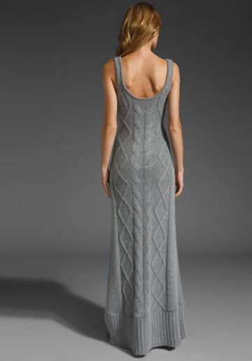 Elegant cable dress. SPRING CLIFTON Snowden Cableknit Maxi in Heather Gray at Revolve Clothing