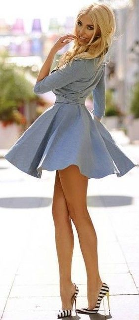 #summer #flawless #outfitideas | Light Blue + Stripes