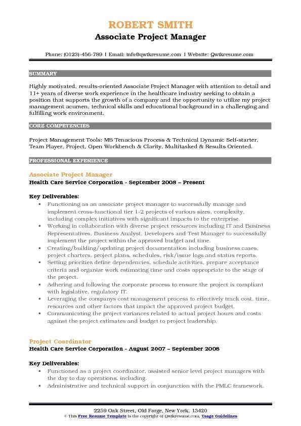 Project Manager Resume Pdf Fresh Associate Project Manager Resume Samples Project Manager Resume Resume Pdf Manager Resume