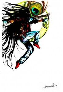 Rock Star Krishna - Illustration art by Himanshu rai
