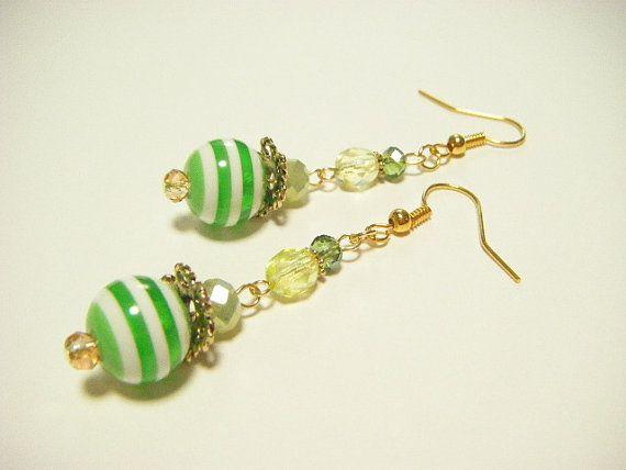 Yellow green stripe earrings yellow green dangle by Coloramelody