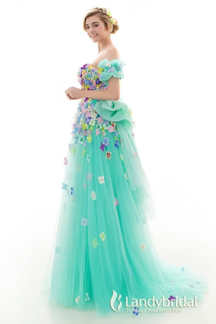 カラードレス エンパイア リボン 袖つき お花いっぱい グリーン チュール ld4026