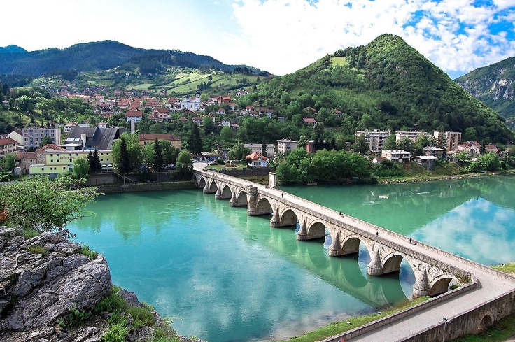 Mehmed Pasa Sokolovic Bridge in Visegrad, Bosnia and Herzegovina. Characteristic of 16th century Ottoman monumental architecture and civil engineering.
