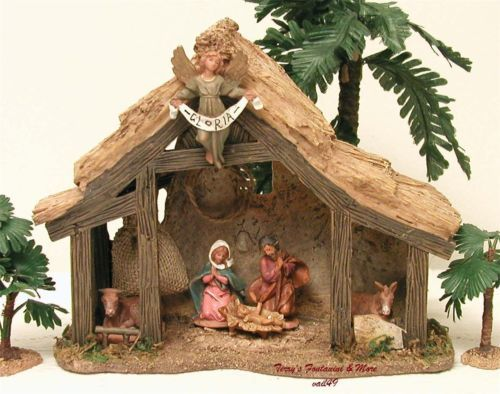FONTANINI-DEPOSE-ITALY-2-5-RESIN-MUSICAL-NATIVITY-VILLAGE-STABLE-SET-50038-GLC