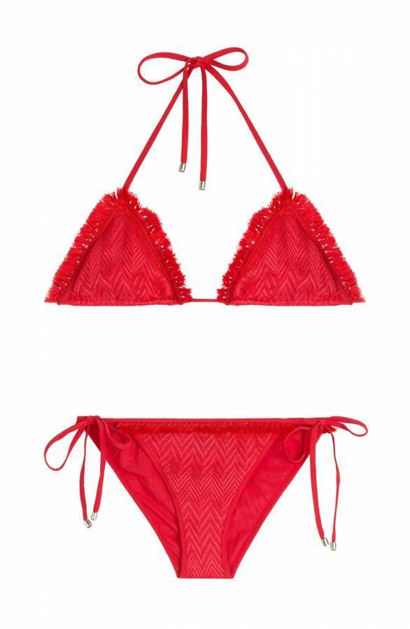 Maillot de bain 2 pièces rouge Missoni Mare avec soutien-gorge triangle