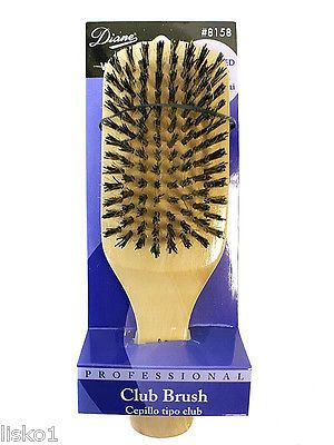 "DIANE PROFESSIONAL #8158 WOOD CLUB HAIR BRUSH 9 ROW 7"" RE-ENFORCED BRISTLE"