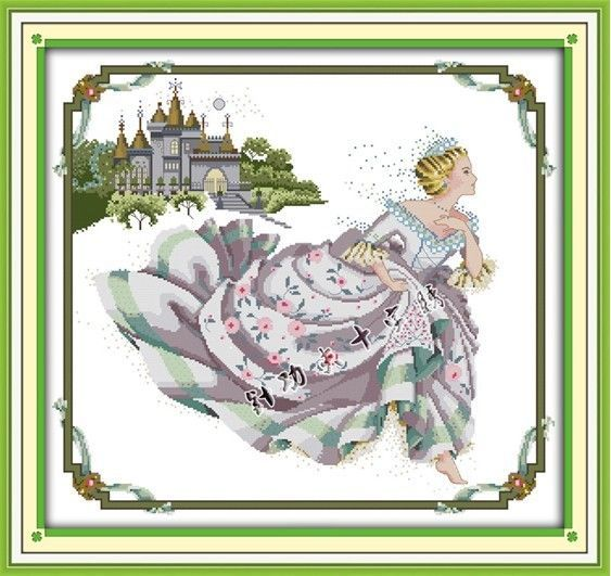 Stamped Cross Stitch Kits Cinderella Design Embroidered Cloth Size: 30*28inch #EverlastingLove