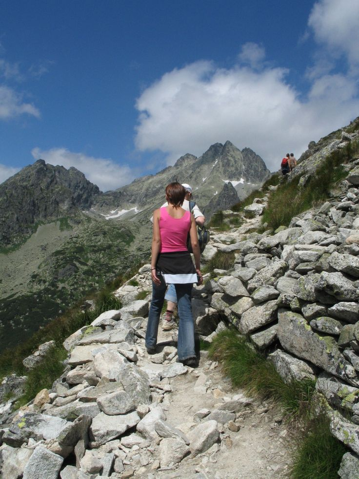 Walking in High Tatras, Slovakia. Going up from Popradske pleso
