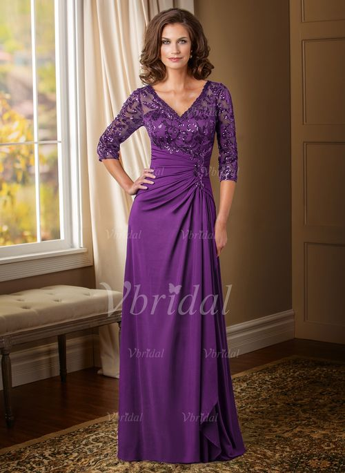 Mother of the Bride Dresses - $193.55 - Sheath/Column V-neck Floor-Length Satin Chiffon Mother of the Bride Dress With Ruffle Sequins (0085095802)