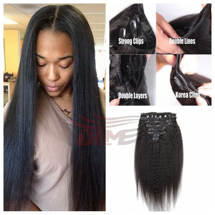 Italian Coarse Yaki Clip In Hair Extensions Natural Black Virgin Peruvian Straight For African American Women