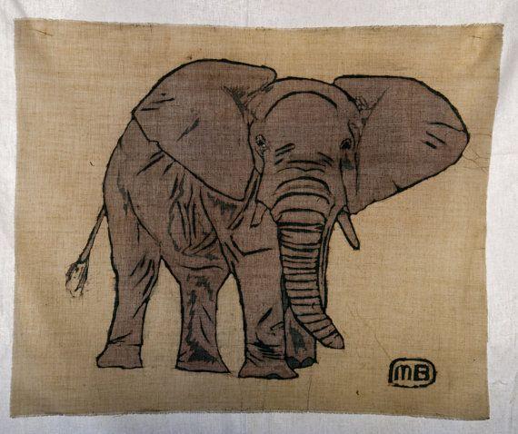 Elephant batik painting by ManufactureBuchwald on Etsy, €99.00