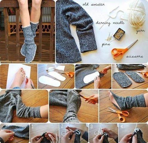 Mangas de jersey convertidos en zapatillas-calcetines de andar por casa