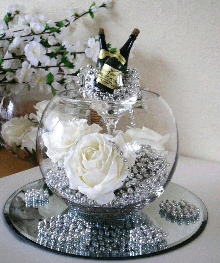 17 mejores ideas sobre centros de mesa de espejo en for Mesas de cristal para bodas