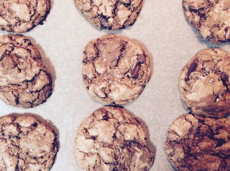 flor do brownie: Bolachas de chocolate com nutella e flor de sal