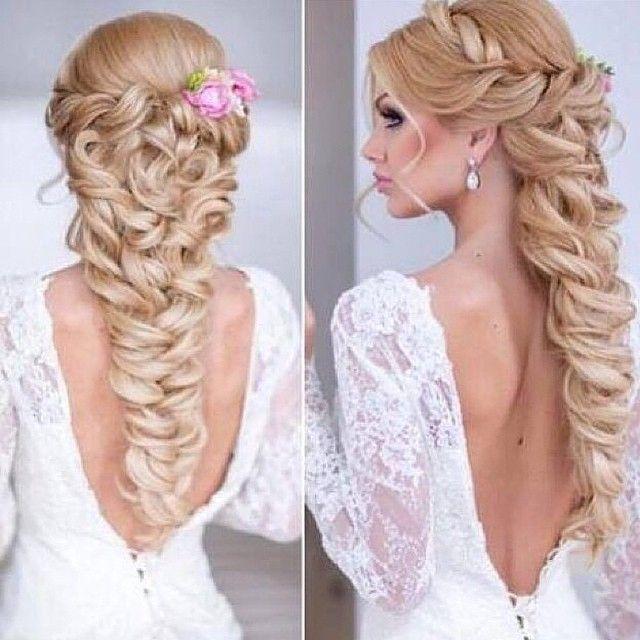 #hair long curly half up half down fishtail
