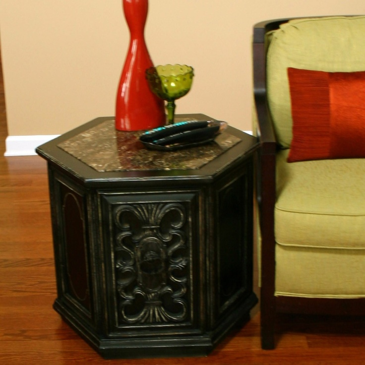 Vintage Side Table. Bohemian Style. Wooden. Black. Mediterranean.  Hexagonal. Drum · What Is ...