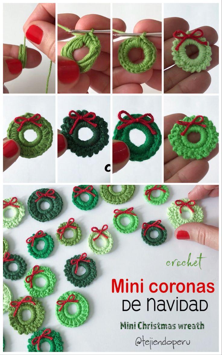 1043 best crochet images on pinterest for Coronas de navidad