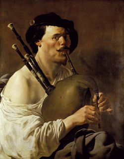 Hendrick ter Brugghen (1588? - 1629):  Portrait of a Man playing the Bagpipes