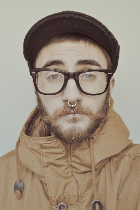 Nose ring hat glasses coat threads pinterest for Jobs that allow piercings tattoos and colored hair