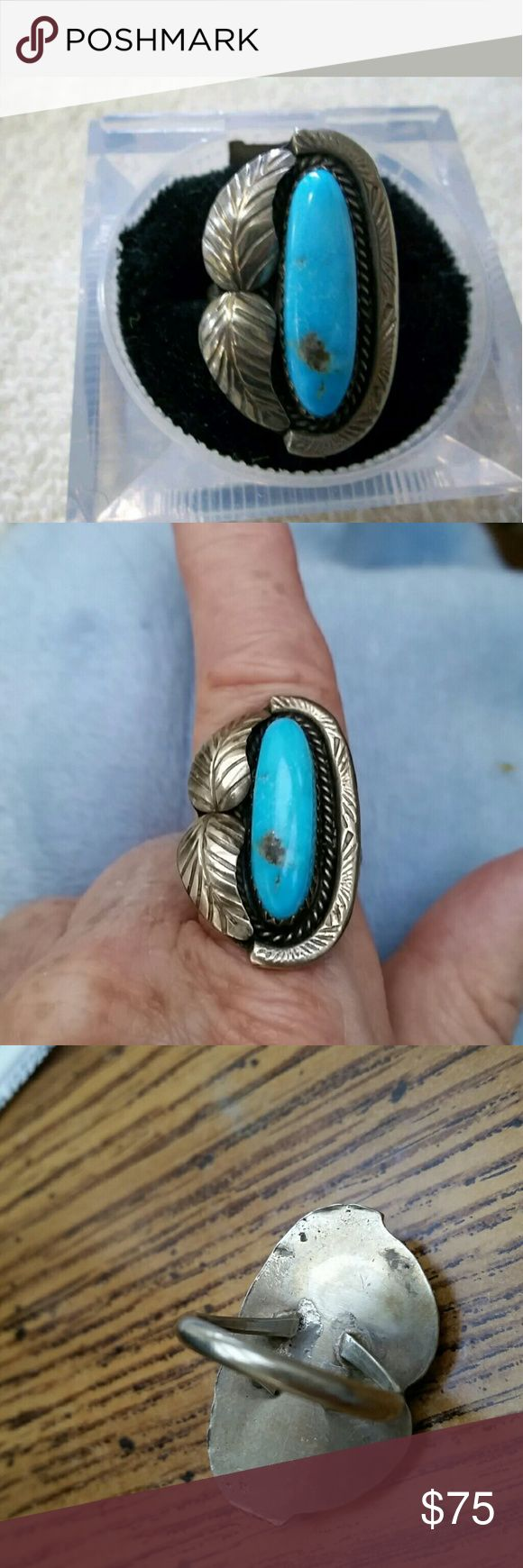Vintage Sterling Silver Turquoise Ring Sz 7 Beautiful authentic turquoise set in solid sterling silver ring. This ring test positive for Sterling.  It is not marked which is commonplace for older pieces. Vintage  Jewelry Rings