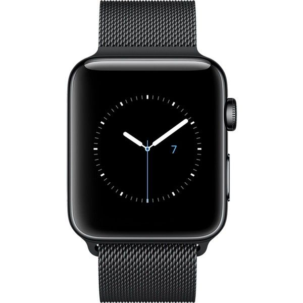 APPLE Series 2 space black stainless steel 42mm Apple Watch (€720) ❤ liked on Polyvore featuring jewelry, watches, heart-shaped watches, stainless steel wrist watch, crown jewelry, heart-shaped jewelry and stainless steel jewellery