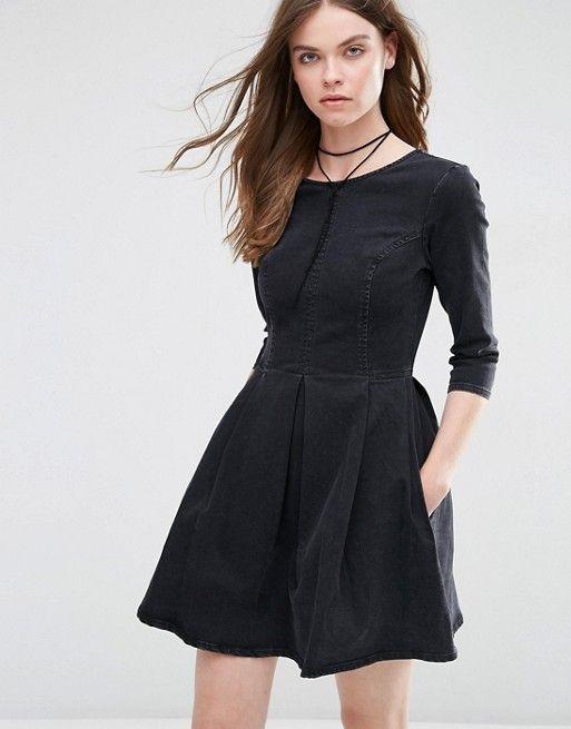ASOS   ASOS Denim Skater Dress in Washed Black