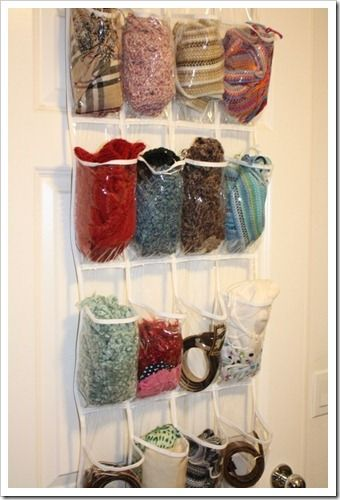 I use the same scarf all winter because it is a huge hassle to search through my bin o' winter stuff for new items. I tried this idea and can't wait to see how it helps this winter.