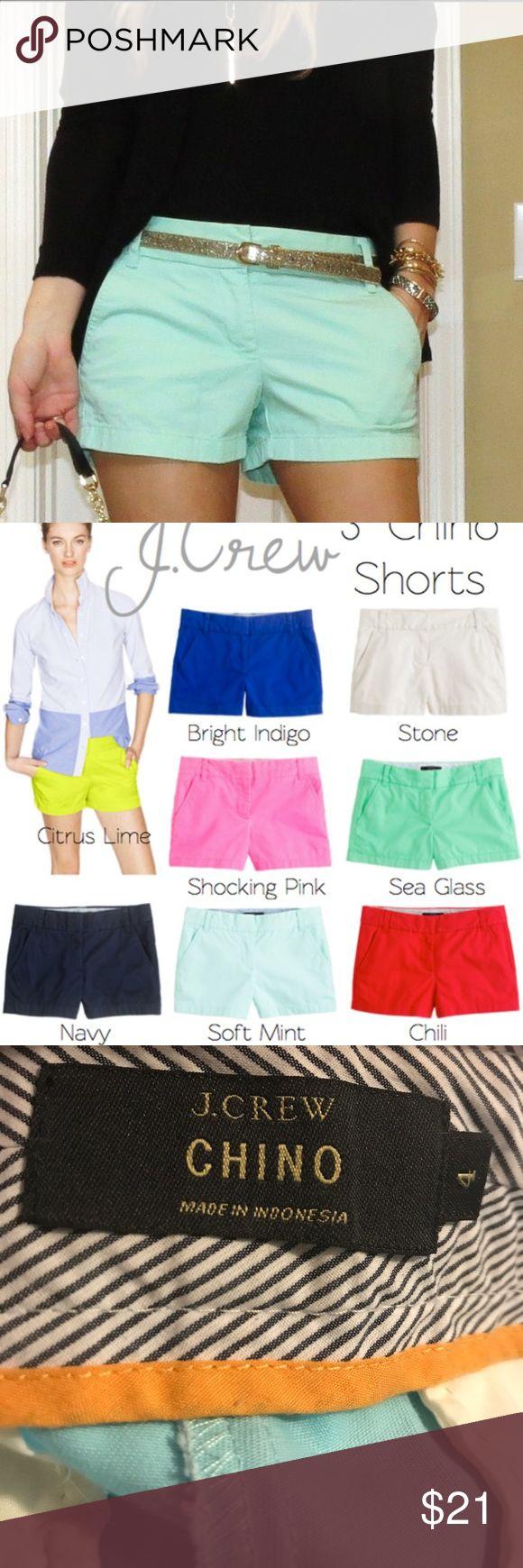 "J. crew Soft mint Chino Shorts 3"" inseam like New J. crew Soft mint 3"" chino shorts • like New Condition • no trades J. Crew Shorts"