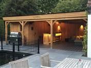 Houten tuinhuizen - overdekt terras met bar en buitenkeuken ref.923
