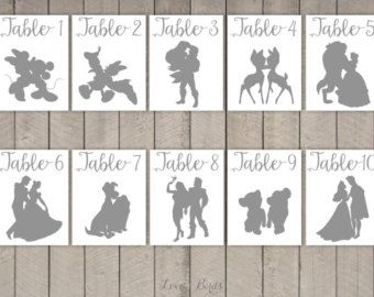 Disney Couple Cards Silhouette (tabel cards wedding) – set of 36 – two sizes: A2 and 5 x 7 inch – Digital file