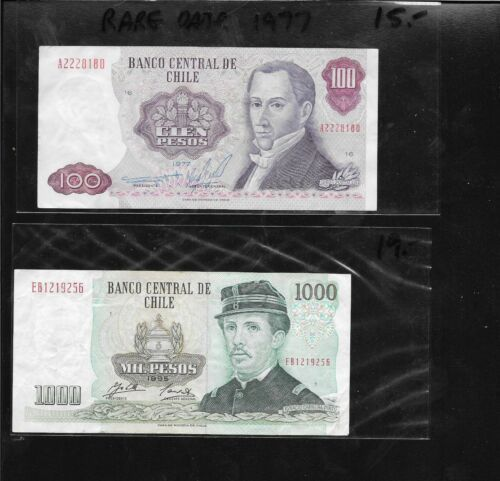 Collecters Item 2 Notes Chile 1000 Pesos 1995 Rare 1977 Date 100 Pesos Chile Bank Notes Rare