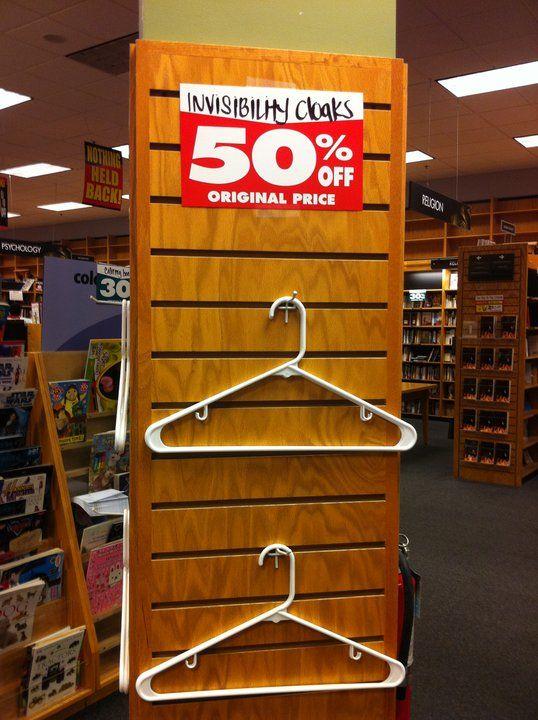 50% off invisibility cloaks: Invisible Cloaks, Harry Potter Jokes, Funny Signs, Retail Humor, Invi Cloaks, Funny Commercial, Hangers, Random Stuff, Harry Potter Humor