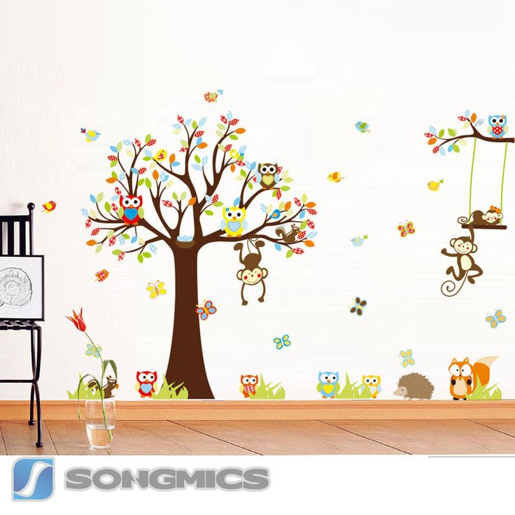 Lovely Wandtattoo Wald Tiere Baum Affe Eule Baby Kinderzimmer Sticker Deko XXL FWTC