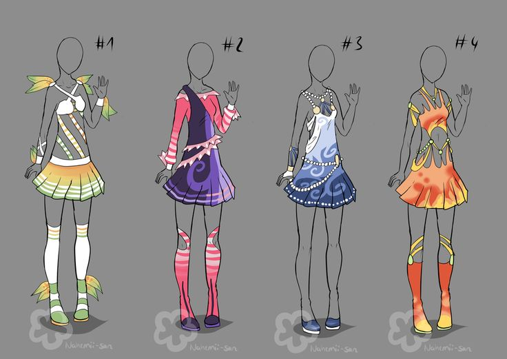 Fashion technical drawing dress anime