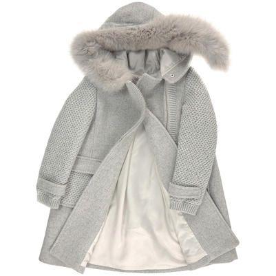 Ermanno Scervino Junior - Manteau col fourrure synthétique, en drap de laine - Gris clair - 99406