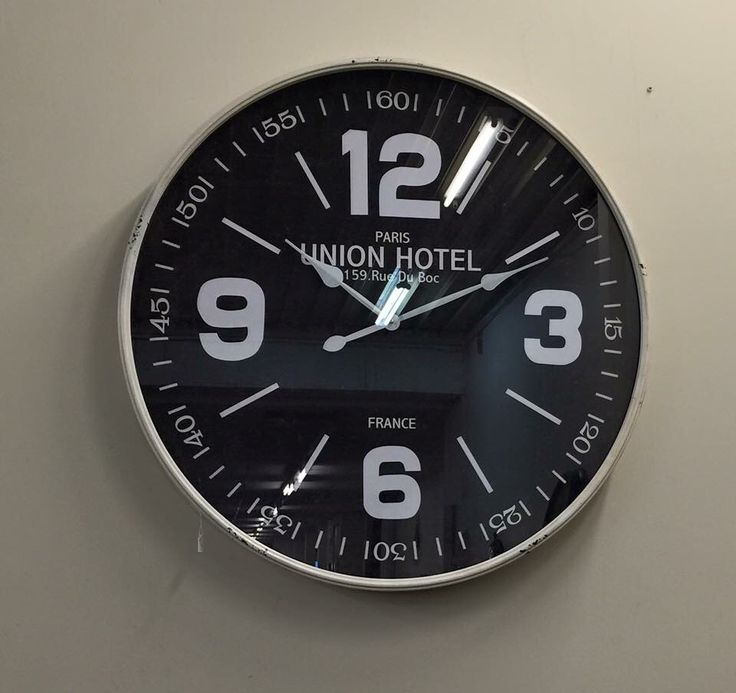 Black face with numbers large wall clock
