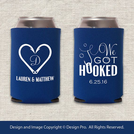 Hey, I found this really awesome Etsy listing at https://www.etsy.com/listing/215111358/we-got-hooked-fishing-wedding-koozie