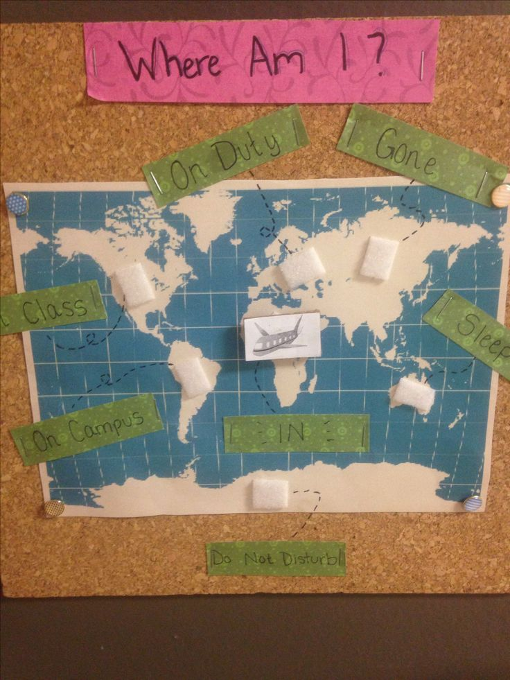 """""""Where Am I"""" board for RA's with travel theme."""