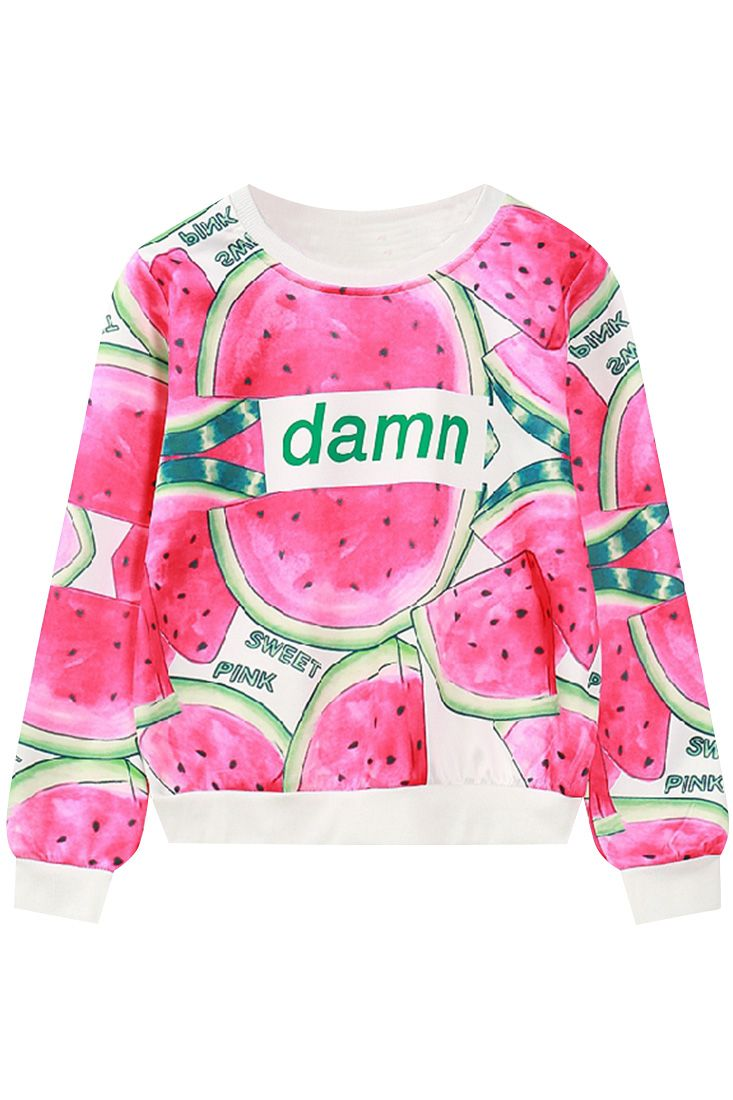 The sweatshirt is featuring watermelon printing. Long sleeve. O neck. Loose fit.