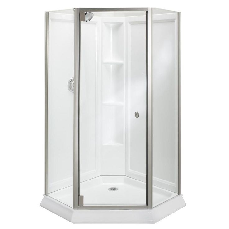 STERLING Solitaire Economy 42 in. x 29-7/16 in. x 78-1/4 in. Neo-Angle Corner Shower Kit with Shower Door in White/Silver