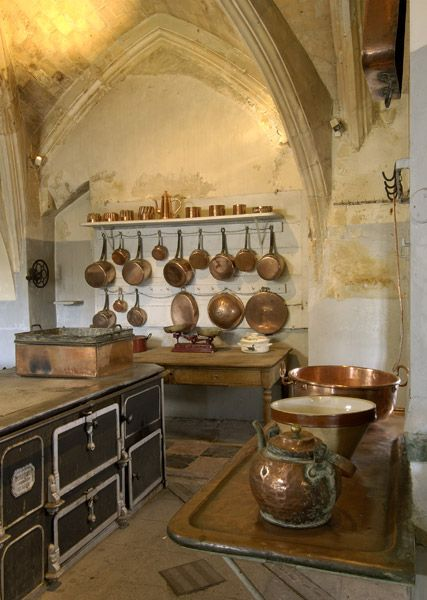 Wonderful Renaissance kitchen with incredible copper pots. Chateau du Lude, Northern Loire Valley, France. Le Lude, has been occupied by the same family for the past 260 years. Spectacular botanical gardens open to the public on the first weekend in June.