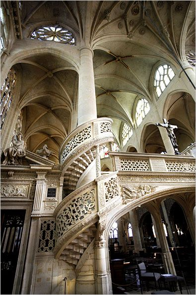 """The wildly gorgeous interior of the Church of Saint Etienne du Mont in the Latin Quarter. The steps of this church are used in Woody Allen's movie """"Midnight in Paris"""" - but the interior is definitely worth seeing! #Paris"""