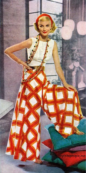 1957 fun fashion. I saw this and flashed back to when i owned stylin' big leg pants just like these. Amazing.