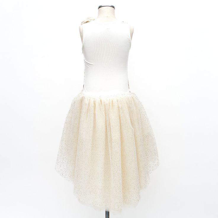 Broderet kjole med guld pailletter og tyl flæser