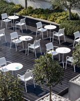 Light and stackable Ara is the perfect choice for outdoor use. #outdoorfurniture #chairs #outdoordining