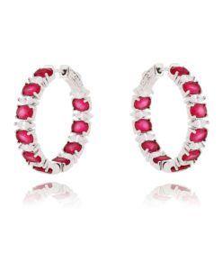 brinco delicado argola com zirconias rubi e cristais semi joias modernas