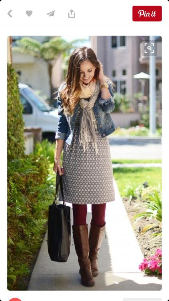 Love this casual tunic length dress-gray with the burgundy leggings and jacket!