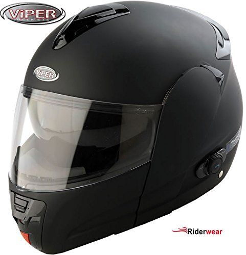 Moto Casque Bluetooth VIPER V131 Modulaire Casque Scooter Casque Noir Mat S