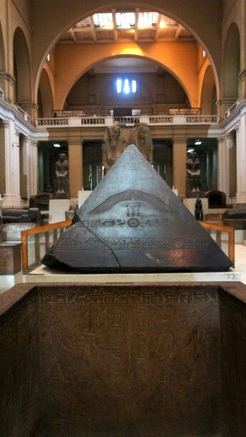 Pyramidion,  Inscribed pyramidion, or pyramid cap, in black granite, Eastern Elevation, Egyptian Museum, Cairo - Egypt.
